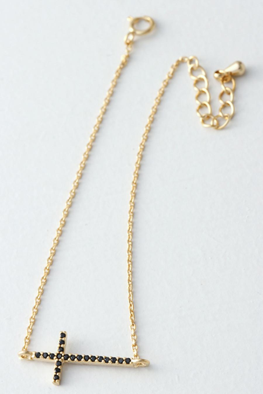 Black CZ Gold Sideways Cross Bracelet Sterling Silver from kellinsilver.com