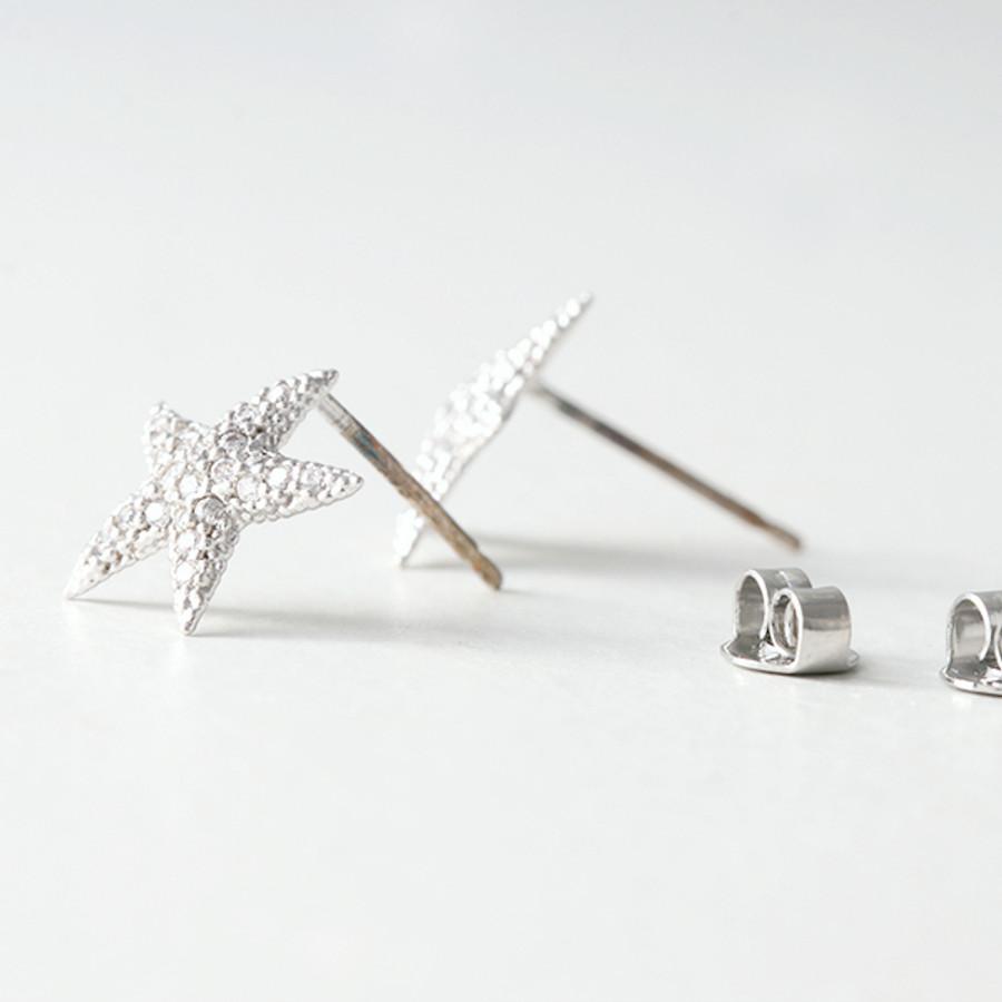 Swarovski White Gold Starfish Earrings Studs from kellinsilver.com