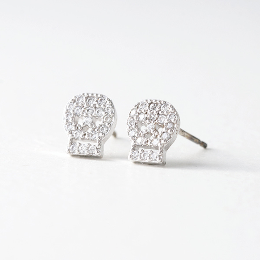 Swarovski White Gold Small Skull Stud Earrings