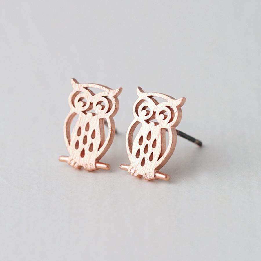 Matt Rose Gold Owl Earrings Stud From Kellinsilver