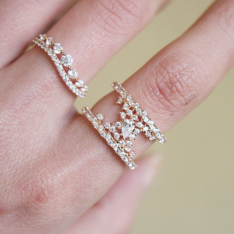 Pave Tear Drop Rose Gold Phantom Double Ring Sterling Silver Wedding Jewelry from kellinsilver.com