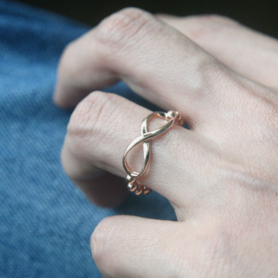 Rose Gold Infinity Ball Band Ring Sterling Silver from kellinsilver.com