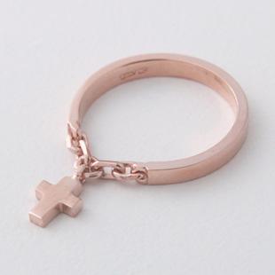 Rose Gold Cross Charm Chain Ring Sterling Silver kellinsilvercom