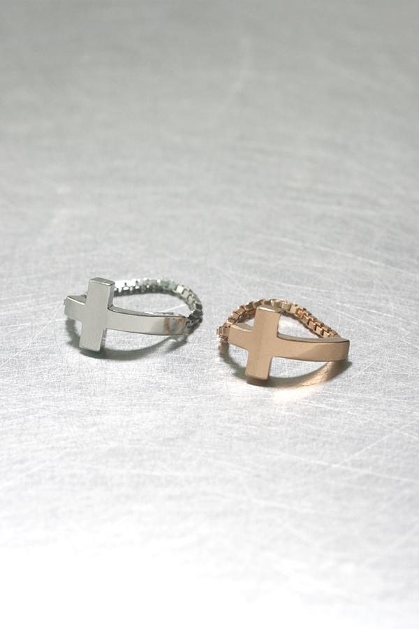 Rose Gold Sideways Cross Chain Ring Sterling Silver on kellinsilver.com