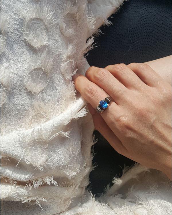 Blue Topaz Oxidized Silver Ring from kellinsilver.com