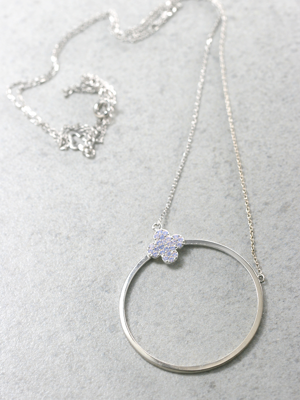Opal Clover Circle Long Necklace Sterling Silver from kellinsilver.com