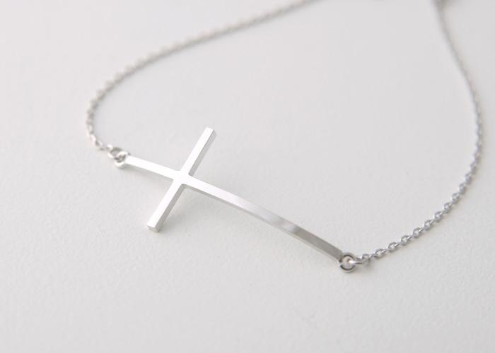 Sterling Silver Sideways Cross Bracelet White Gold from kellinsilver.com