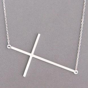 White Gold Sideways Cross Necklace Sterling Silver from kellinsilver