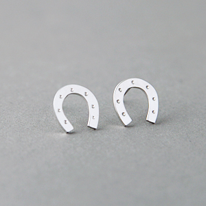White Gold Lucky Horseshoe Stud Earrings Sterling Silver Kellinsilver