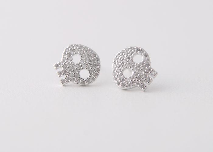 Swarovski White Gold Skull Earrings Studs