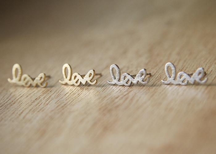 Gold Love Script Earring Studs