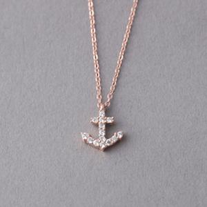 Rose Gold Swarovski Anchor Necklace Sterling Silver kellinsilvercom