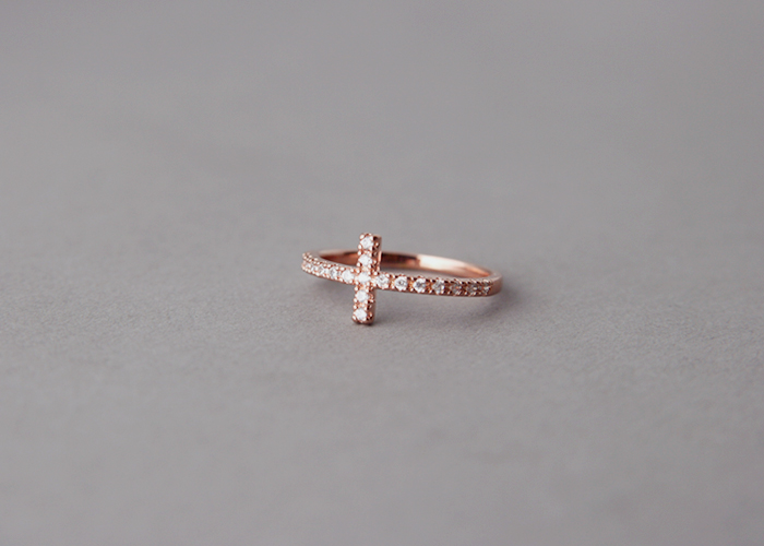 CZ Sideways Cross Ring Rose Gold