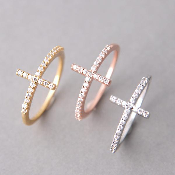 White Gold CZ Sideways Cross Ring Sterling Silver from kellinsilver.com