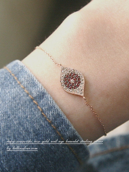 Pave Ruby Swarovski Evil Eye Bracelet Rose Gold from kellinsilver.com