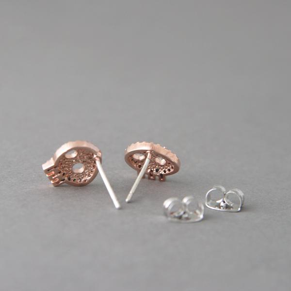 Swarovski Rose Gold Skull Earrings Studs kellinsilvercom