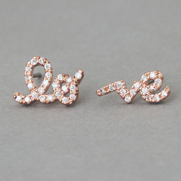 Cz Rose Gold Love Word Earrings Studs From Kellinsilver Com