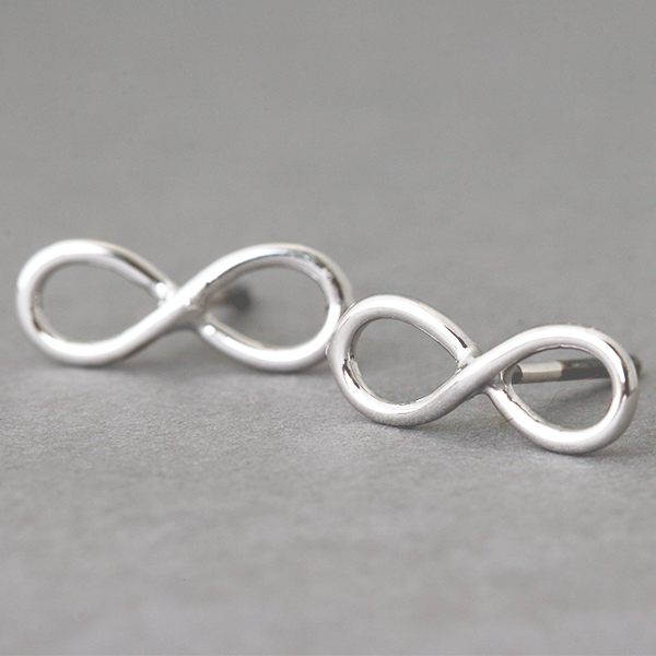 White Gold Infinity Earrings Stud Silver Post