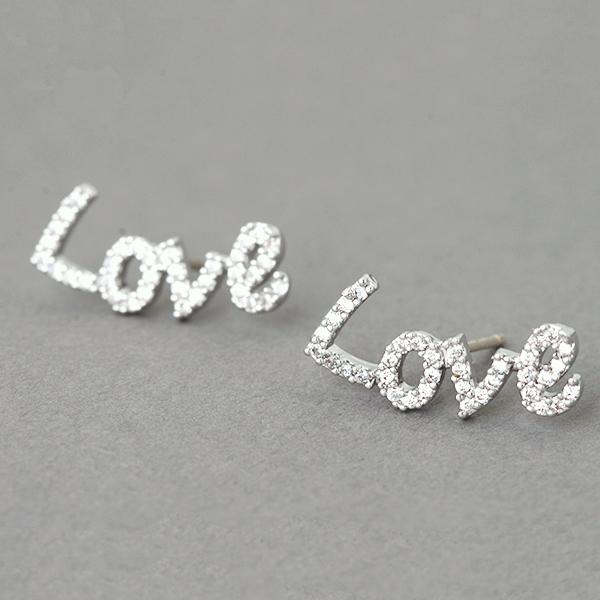 Swarovski Love Stud Earrings White Gold From Kellinsilver Com Love Jewelry Love Word