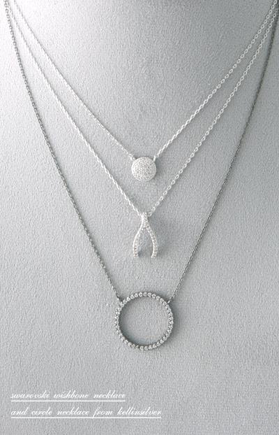 Swarovski white gold wishbone necklace sterling silver com swarovski white gold wishbone necklace sterling silver from kellinsilver aloadofball Image collections