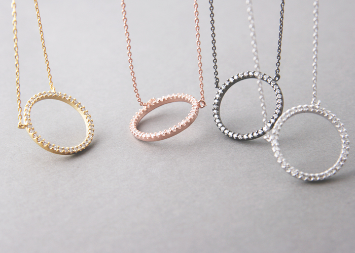 Swarovski Yellow Gold Outline Circle Necklace Sterling