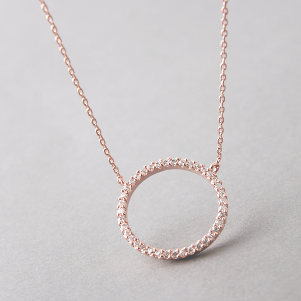 Swarovski rose gold outline circle necklace sterling silver com swarovski rose gold outline circle necklace sterling silver from kellinsilver aloadofball Choice Image