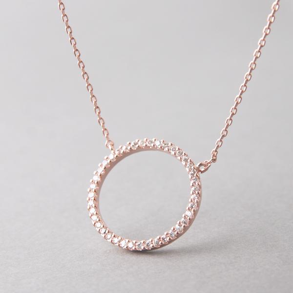 Swarovski Rose Gold Outline Circle Necklace Sterling Silver