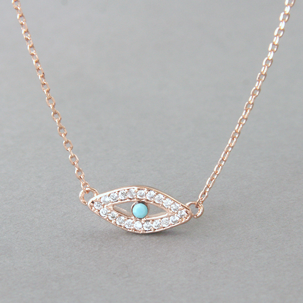 Turquoise Sterling Silver Evil Eye Necklace Rose Gold from kellinsilver.com