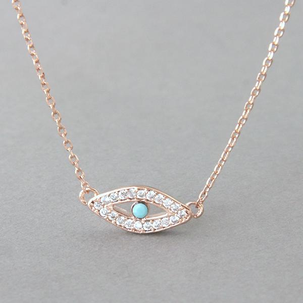 Very best Turquoise Evil Eye Necklace Rose Gold - kellinsilver.com SM07