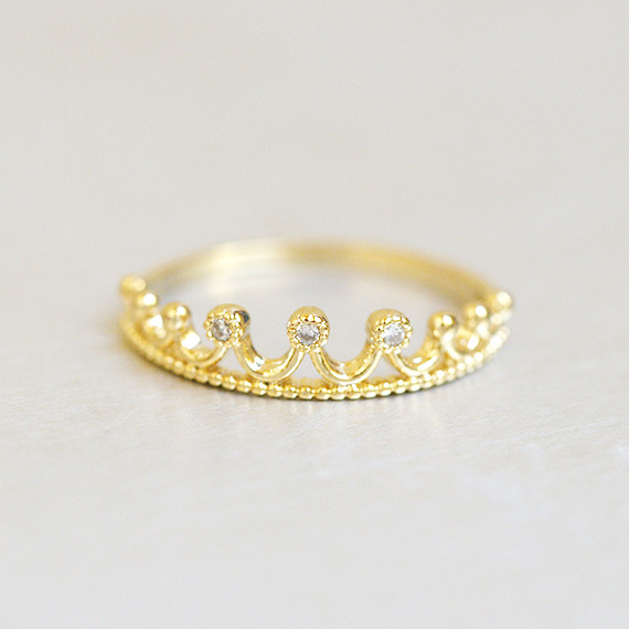 CZ Crown Tiara Ring Gold from kellinsilver.com
