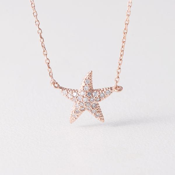 Swarovski Rose Gold Starfish Necklace Sterling Silver kellinsilvercom