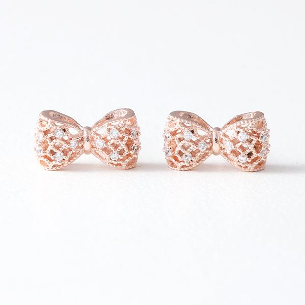 CZ 3D Filligree Bow Stud Earrings Rose Gold from kellinsilver.com