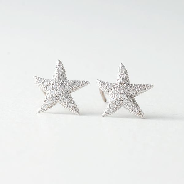 Swarovski White Gold Starfish Earrings Studs kellinsilvercom