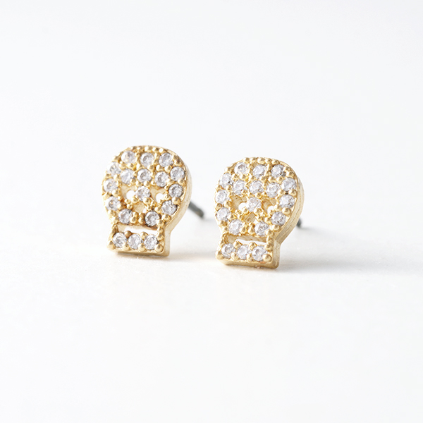 Swarovski Gold Small Skull Stud Earrings from kellinsilver.com