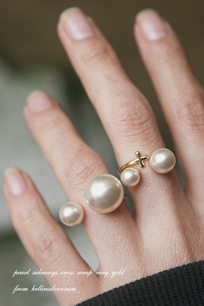 Double Pearl Gold Cuff Ring from kellinsilver.com