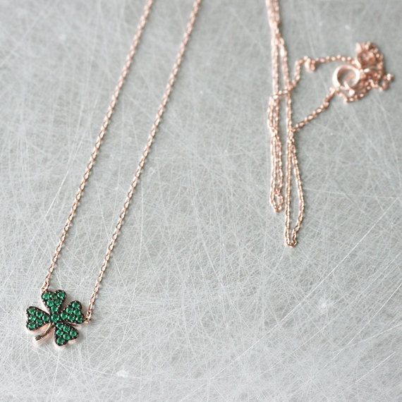 Emerald Green Four Leaf Clover Necklace Rose Gold from kellinsilver.com