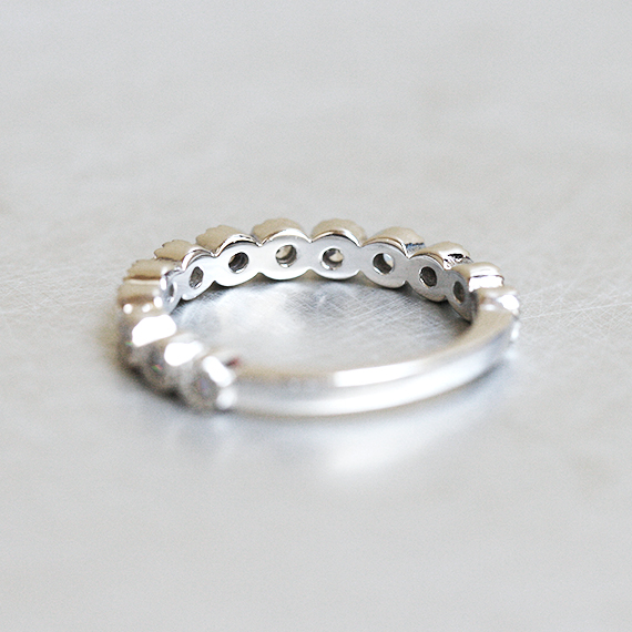 Sterling Silver CZ Half Eternity Ring Band White Gold from kellinsilver.com