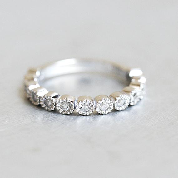 Sterling Silver CZ Half Eternity Ring Band White Gold kellinsilvercom