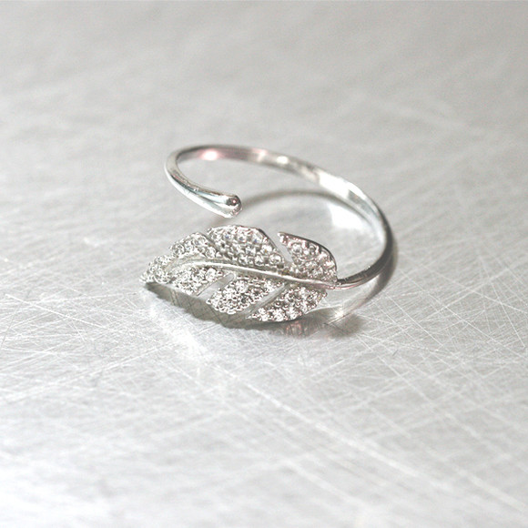 White Gold Cz Olive Leaf Bypass Ring Sterling Silver
