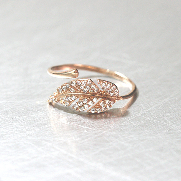 Rose Gold Cz Olive Leaf Bypass Ring Sterling Silver