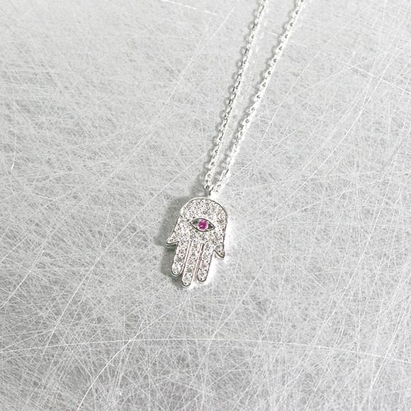 White Gold Ruby Swarovski Hamsa Evil Eye Necklace Sterling