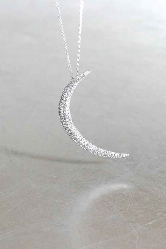 Swarovski White Gold Crescent Moon Long Necklace Sterling