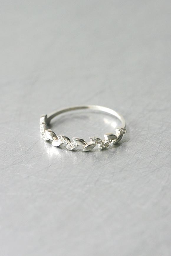 Dainty Cz Olive Leaf Ring Sterling Silver Kellinsilver Com