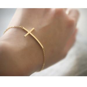 Gold Sideways Cross Bracelet Sterling Silver