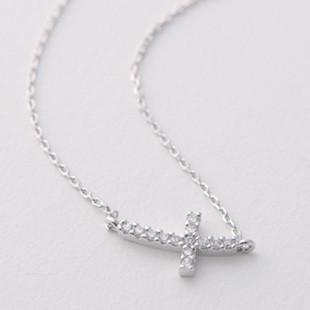 White Gold Swarovski Curved Sideways Cross Necklace