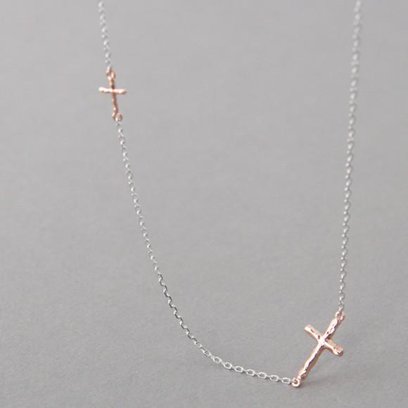 Rose Gold Tiny Hammered Sideways Crosses Necklace Sterling