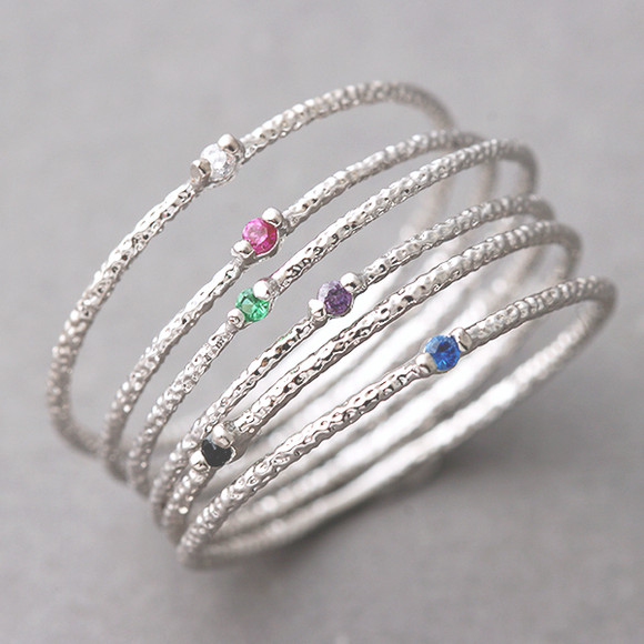 Color Stone Textured Thin Rings White Gold On Sterling
