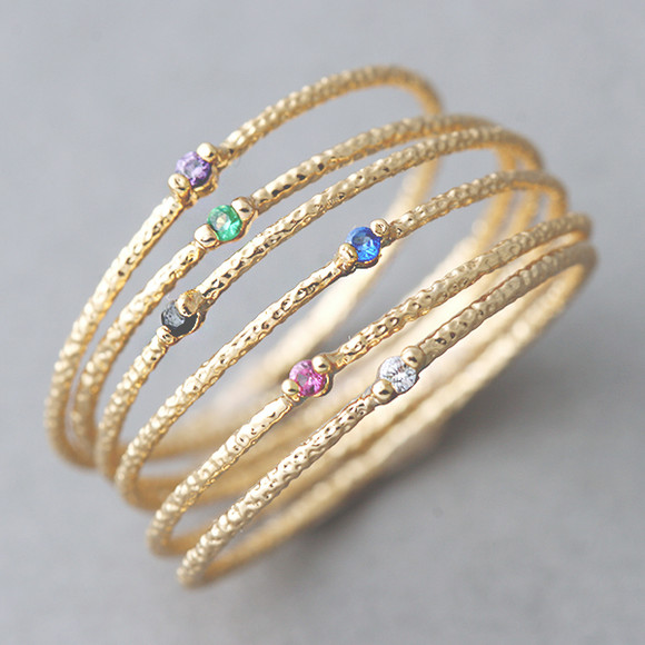 color stone textured tin rings gold set of 6