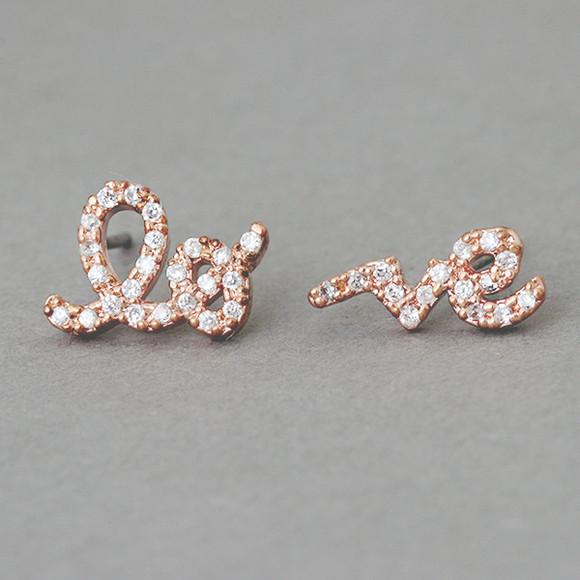 Cz Rose Gold Love Word Earrings Studs Kellinsilver Com