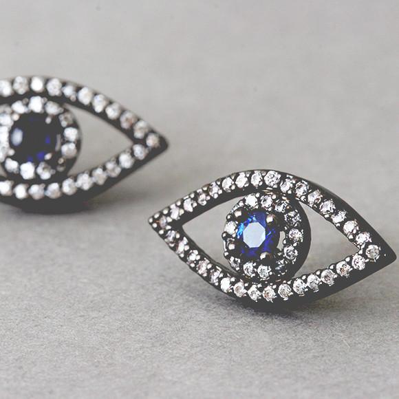 Swarovski Black Evil Eye Earrings Silver Post